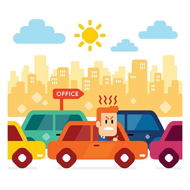 Traffic jam, 交通堵塞, on the way office