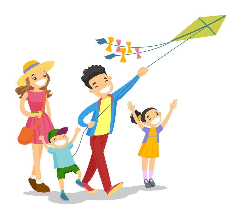 家庭时间,快乐,放风筝